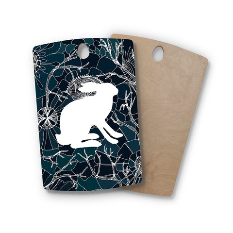 "Anchobee ""Hare"" Blue White Rectangle Wooden Cutting Board"