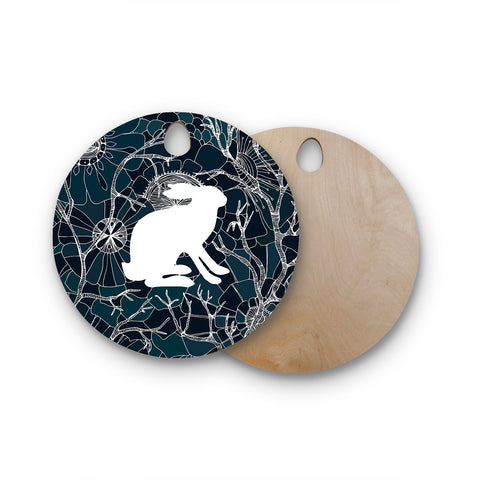"Anchobee ""Hare"" Blue White Round Wooden Cutting Board"
