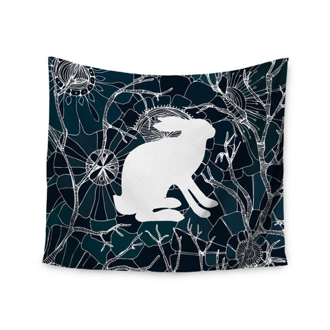 "Anchobee ""Hare"" Blue White Wall Tapestry - KESS InHouse  - 1"