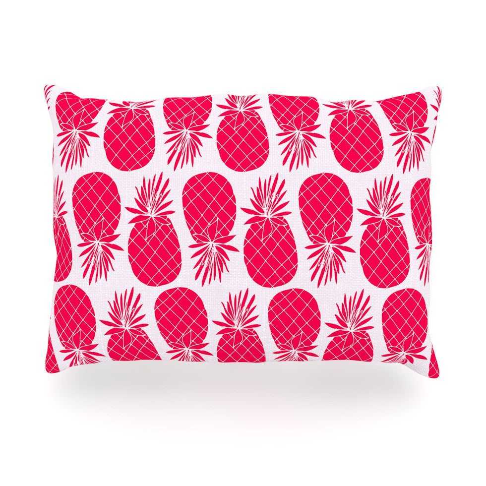 "Anchobee ""Pinya Neon Pink"" Magenta Pattern Oblong Pillow - KESS InHouse"