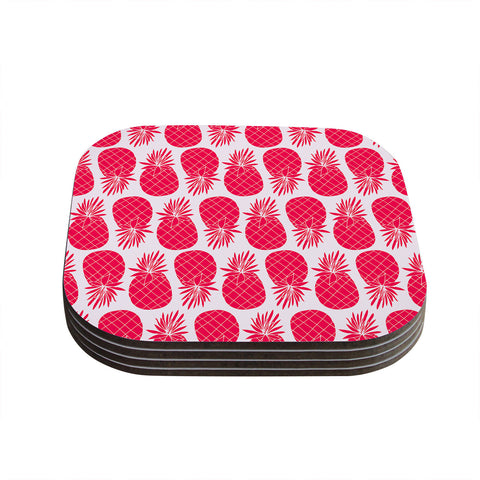 "Anchobee ""Pinya Neon Pink"" Magenta Pattern Coasters (Set of 4)"