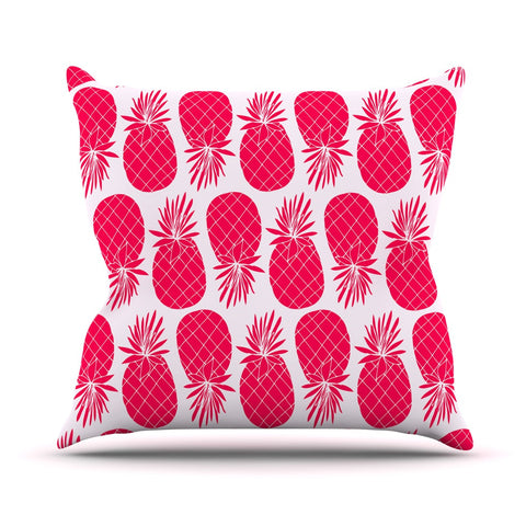 "Anchobee ""Pinya Neon Pink"" Magenta Pattern Throw Pillow - KESS InHouse  - 1"