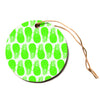 "Anchobee ""Pinya Neon Green"" Lime Pattern Circle Holiday Ornament"
