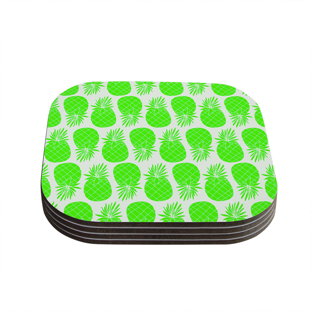 "Anchobee ""Pinya Neon Green"" Lime Pattern Coasters (Set of 4)"