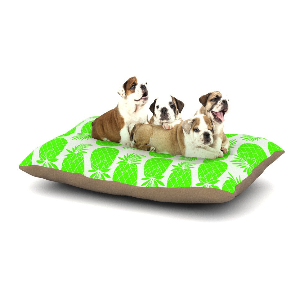 "Anchobee ""Pinya Neon Green"" Lime Pattern Dog Bed - KESS InHouse  - 1"