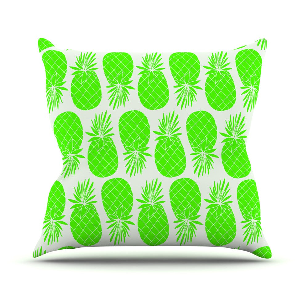 "Anchobee ""Pinya Neon Green"" Lime Pattern Outdoor Throw Pillow - KESS InHouse  - 1"