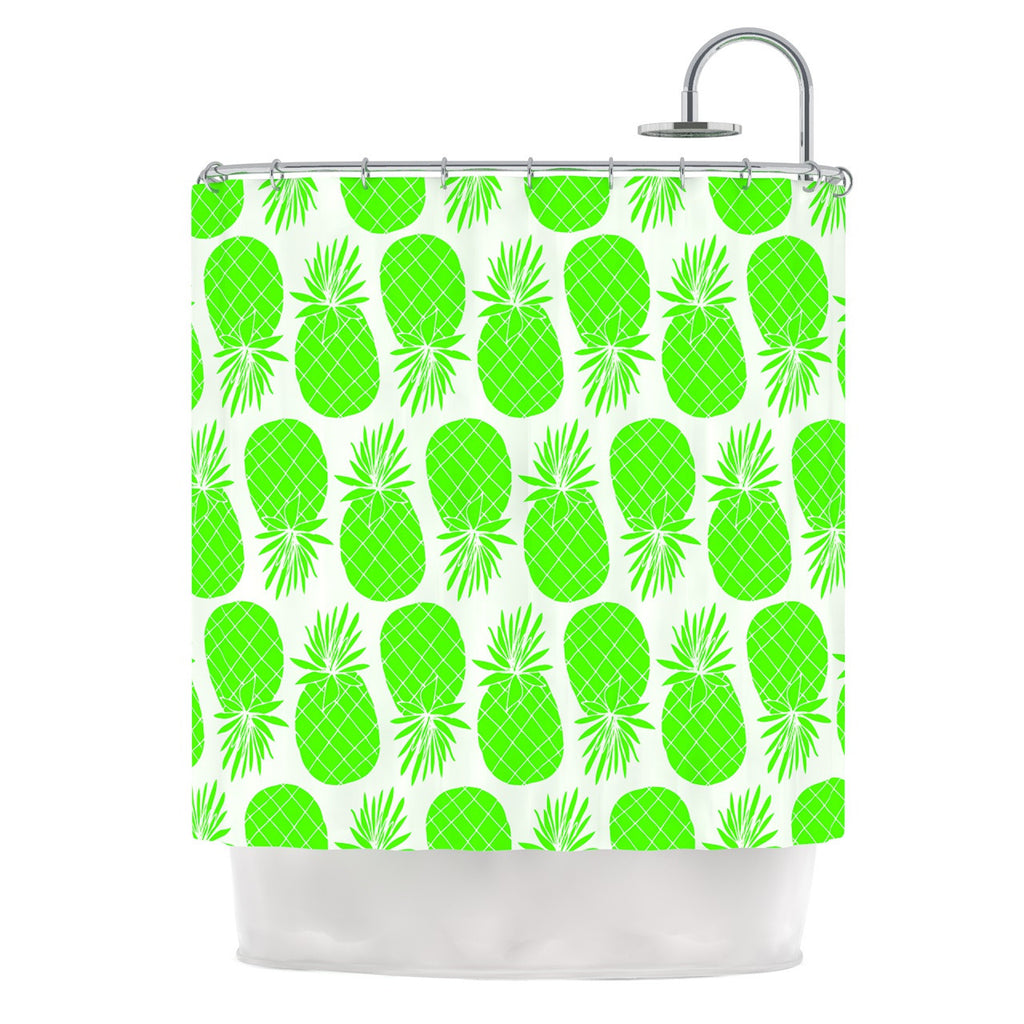 "Anchobee ""Pinya Neon Green"" Lime Pattern Shower Curtain - KESS InHouse"