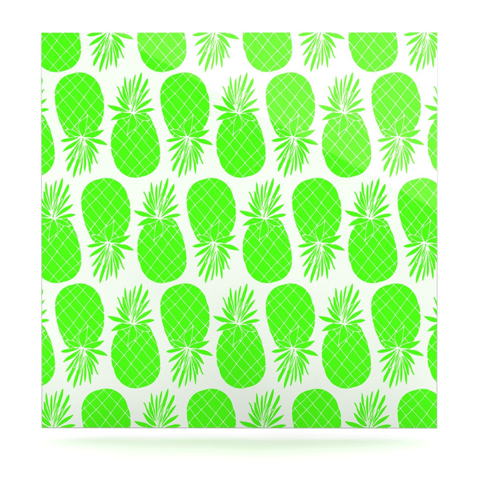 "Anchobee ""Pinya Neon Green"" Lime Pattern Luxe Square Panel - KESS InHouse  - 1"