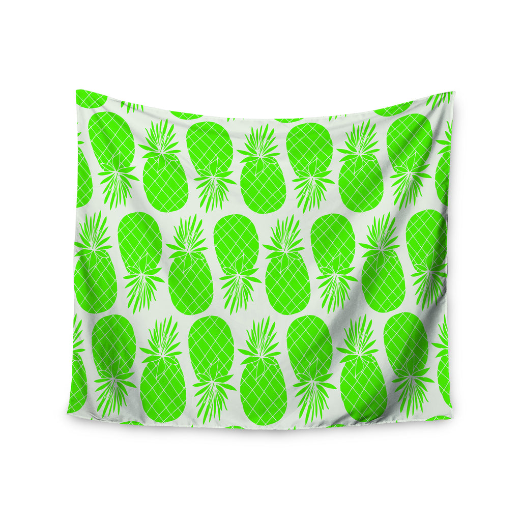 "Anchobee ""Pinya Neon Green"" Lime Pattern Wall Tapestry - KESS InHouse  - 1"