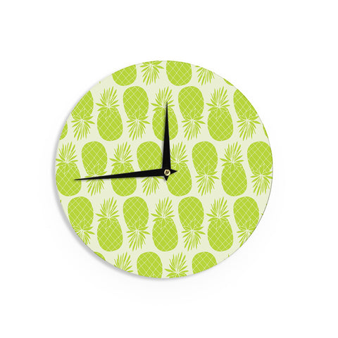 "Anchobee ""Pinya Lime"" Green Pattern Wall Clock - KESS InHouse"