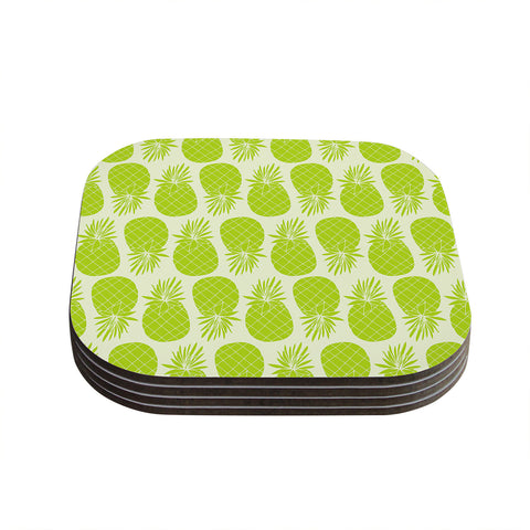 "Anchobee ""Pinya Lime"" Green Pattern Coasters (Set of 4)"