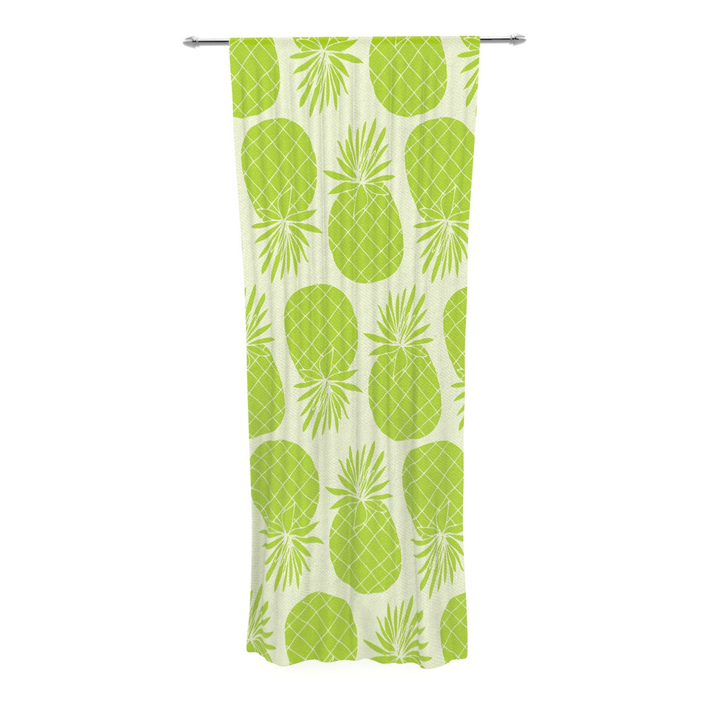 "Anchobee ""Pinya Lime"" Green Pattern Decorative Sheer Curtain - KESS InHouse  - 1"