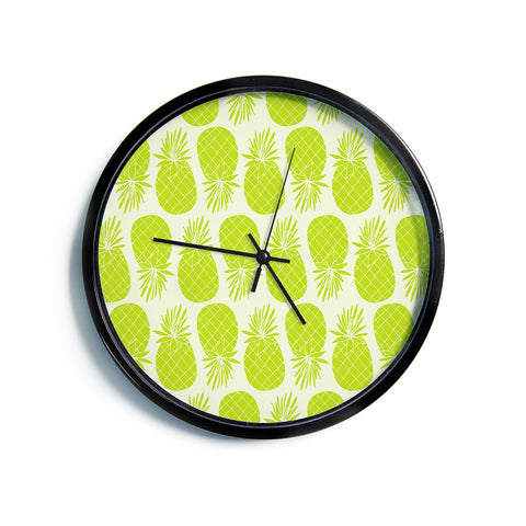 "Anchobee ""Pinya Lime"" Green Pattern Modern Wall Clock"