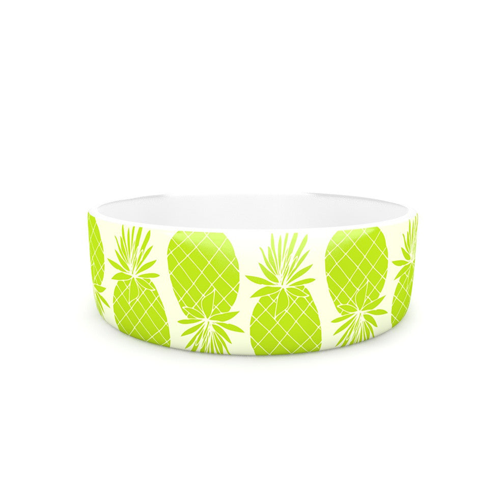 "Anchobee ""Pinya Lime"" Green Pattern Pet Bowl - KESS InHouse"