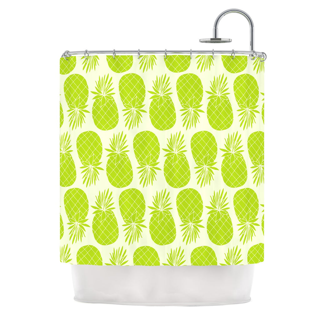 "Anchobee ""Pinya Lime"" Green Pattern Shower Curtain - KESS InHouse"