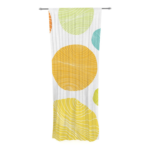 "Anchobee ""Eolo"" Multicolor Circles Decorative Sheer Curtain - KESS InHouse  - 1"