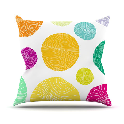 "Anchobee ""Eolo"" Multicolor Circles Throw Pillow - KESS InHouse  - 1"