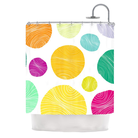 "Anchobee ""Eolo"" Multicolor Circles Shower Curtain - KESS InHouse"