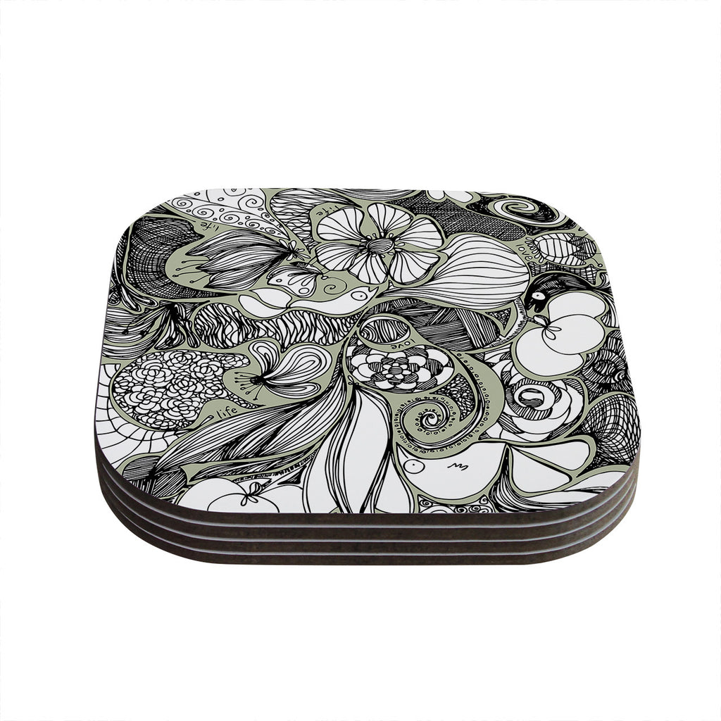 "Anchobee ""Doodle Dos"" Gray Green Coasters (Set of 4)"