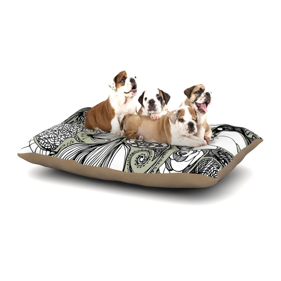 "Anchobee ""Doodle Dos"" Gray Green Dog Bed - KESS InHouse  - 1"