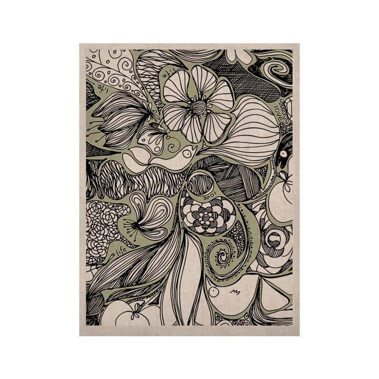 "Anchobee ""Doodle Dos"" Gray Green KESS Naturals Canvas (Frame not Included) - KESS InHouse  - 1"