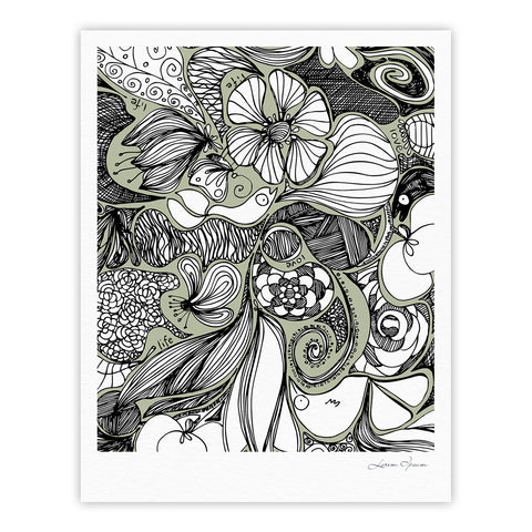 "Anchobee ""Doodle Dos"" Gray Green Fine Art Gallery Print - KESS InHouse"