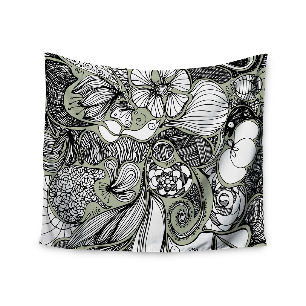 "Anchobee ""Doodle Dos"" Gray Green Wall Tapestry - KESS InHouse  - 1"