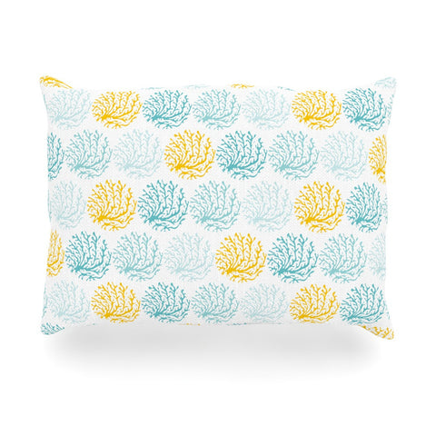 "Anchobee ""Coralina"" Teal Yellow Oblong Pillow - KESS InHouse"