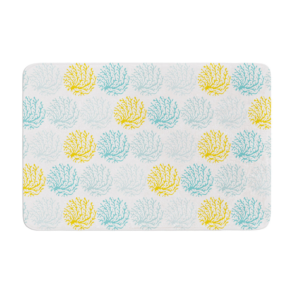 "Anchobee ""Coralina"" Teal Yellow Memory Foam Bath Mat - KESS InHouse"