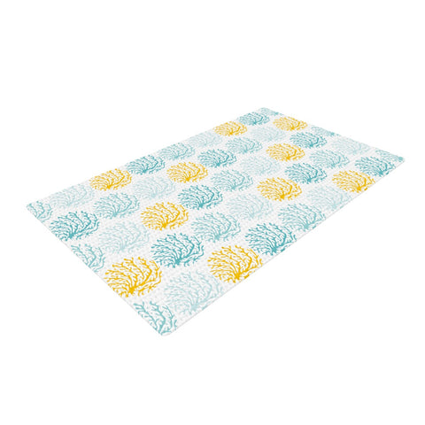 "Anchobee ""Coralina"" Teal Yellow Woven Area Rug - Outlet Item"