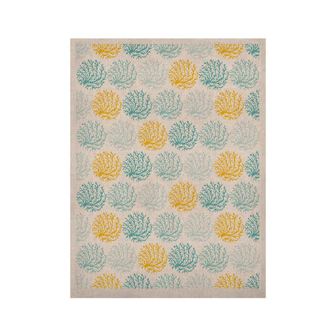 "Anchobee ""Coralina"" Teal Yellow KESS Naturals Canvas (Frame not Included) - KESS InHouse  - 1"
