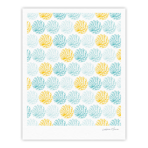 "Anchobee ""Coralina"" Teal Yellow Fine Art Gallery Print - KESS InHouse"