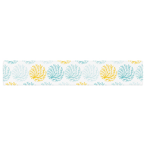 "Anchobee ""Coralina"" Teal Yellow Table Runner - KESS InHouse  - 1"