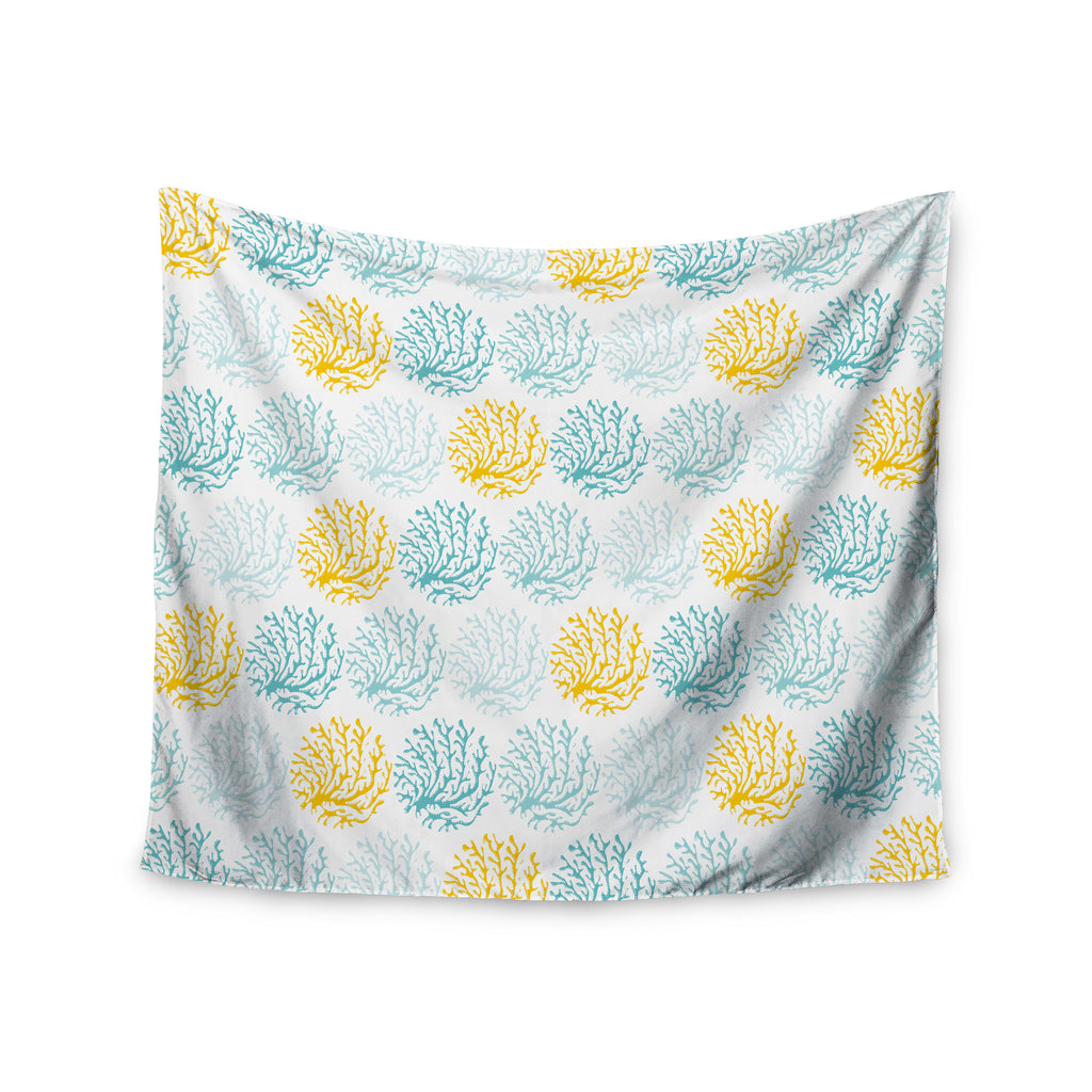 "Anchobee ""Coralina"" Teal Yellow Wall Tapestry - KESS InHouse  - 1"