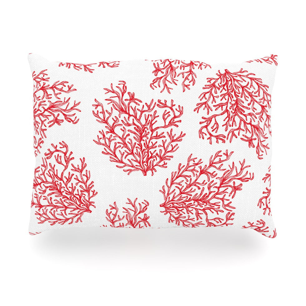 "Anchobee ""Coral"" Red White Oblong Pillow - KESS InHouse"