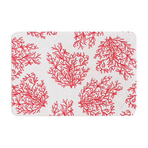 "Anchobee ""Coral"" Red White Memory Foam Bath Mat - KESS InHouse"