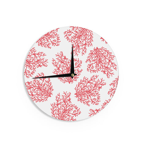 "Anchobee ""Coral"" Red White Wall Clock - KESS InHouse"