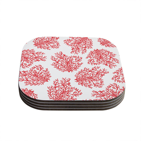 "Anchobee ""Coral"" Red White Coasters (Set of 4)"