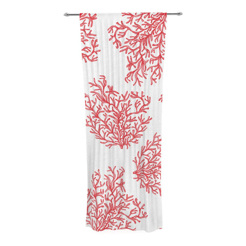 "Anchobee ""Coral"" Red White Decorative Sheer Curtain - KESS InHouse  - 1"