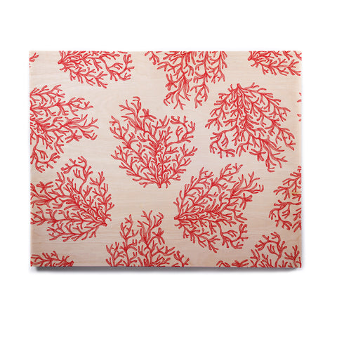 "Anchobee ""Coral"" Red White Birchwood Wall Art - KESS InHouse  - 1"