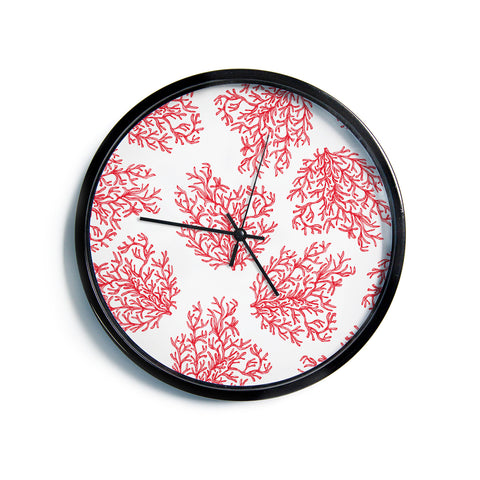 "Anchobee ""Coral"" Red White Modern Wall Clock"