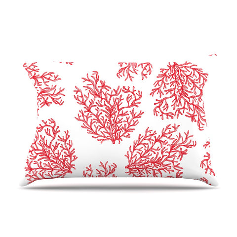 "Anchobee ""Coral"" Red White Pillow Case - KESS InHouse  - 1"