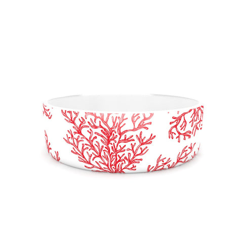 "Anchobee ""Coral"" Red White Pet Bowl - KESS InHouse"