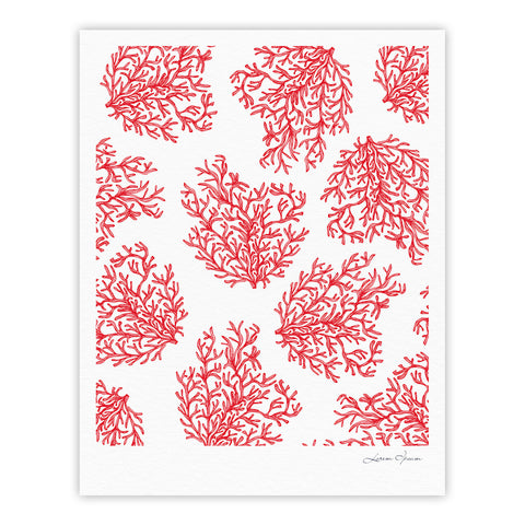 "Anchobee ""Coral"" Red White Fine Art Gallery Print - KESS InHouse"