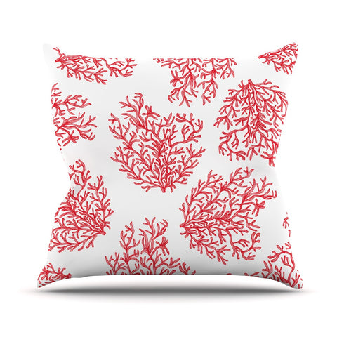 "Anchobee ""Coral"" Red White Outdoor Throw Pillow - KESS InHouse  - 1"