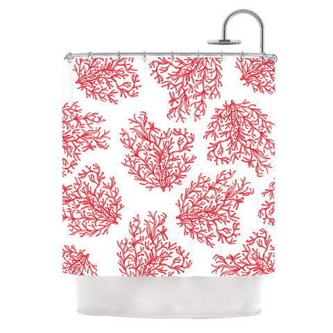 "Anchobee ""Coral"" Red White Shower Curtain - KESS InHouse"