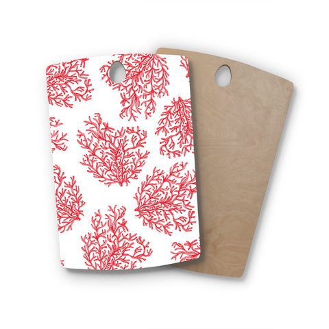 "Anchobee ""Coral"" Red White Rectangle Wooden Cutting Board"