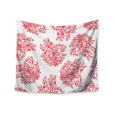"Anchobee ""Coral"" Red White Wall Tapestry - KESS InHouse  - 1"