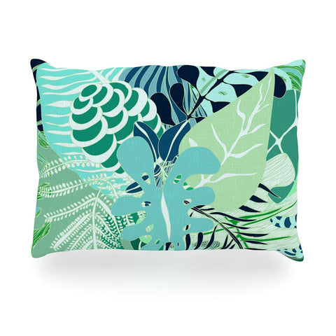 "Anchobee ""Giungla"" Green Floral Oblong Pillow - KESS InHouse"