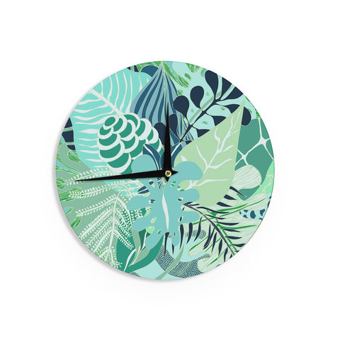 "Anchobee ""Giungla"" Green Floral Wall Clock - KESS InHouse"